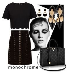 """""""monochromatic in black"""" by faleiarafaela ❤ liked on Polyvore featuring GE, Balmain, Ted Baker, Warehouse and Christian Louboutin"""