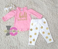 473fe9a046f Half Birthday Baby Girl Winter Pants Outfit - Cute 1 2 Birthday Pink White  and Gold Polka Dot Birthday Set For 6 month Old No Tutu