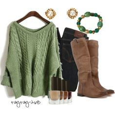 green cable knit and boots