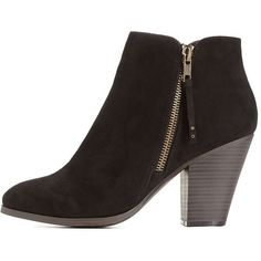 15d4a7bf1c67 Charlotte Russe Black Side-Zip Chunky Heel Booties by Charlotte Russe.