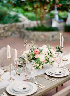 Spring inspired wedding table: http://www.stylemepretty.com/little-black-book-blog/2017/03/06/rancho-las-lomas-springtime-wedding-inspiration/ Photography: Koman - http://komanphotography.com/