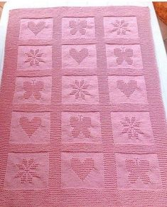 Pink Bobble Blanket: Includes charts for heart, butterfly, and flower. Would look great in a bobble crochet Free Baby Blanket Patterns, Baby Knitting Patterns, Knitting Stitches, Knitted Baby Blankets, Baby Blanket Crochet, Crochet Baby, Crochet En Relief, Bobble Crochet, Irish Crochet