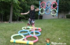 Create a fun agility jump game out of pool noodles! First you make the rings and then use duct tape to secure together. You can hang them from trees or lay on the ground. Outside Activities, Movement Activities, Summer Activities, Outdoor Activities, Children Activities, Outdoor Games For Kids, Outdoor Fun, Playground Games, Scavenger Hunt For Kids