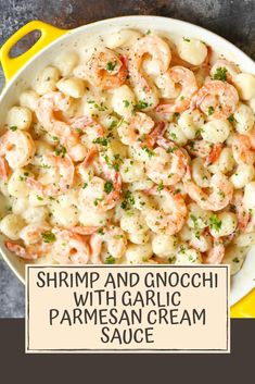 Light, airy gnocchi tossed with tender shrimp and the most amazing cream sauce you'll want to drink! Light, airy gnocchi tossed with tender shrimp and the most amazing cream sauce you'll want to drink! Easy Fish Recipes, Healthy Recipes, Easy Meals, Amazing Food Recipes, Mexican Recipes, Healthy Baking, Keto Recipes, Healthy Food, Seafood Dishes