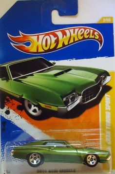 """Hot Wheels 2011, '72 Ford Gran Torino Sport 2/244. 2011 New Models. 1:64 Scale by Mattel. $9.99. Ages 3 and up. 1:64 Scale die cast. With a V8 engine, dual exhaust and hood scoop, this muscle car was made for the """"grand"""" stand."""