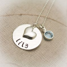 Sweet & Simple Heart Necklace for Girls or Teens Hand Stamped, Personalized, Sterling Silver