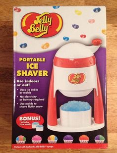 Jelly Belly Portable Ice Shaver Snow Cone Machine Use INDOORS/OUT Includes Molds #JellyBellyCandyCompany