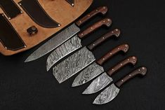 Description Pcs Damascus Professional Kitchen/BBQ knives Set with Leather Roll KitRoss Wood Handle )Beautiful Fire And Twisted Pattern On Blade ( Length Damascus Kitchen Knives, Damascus Steel Chef Knife, Forged Knife, Chef Knife Bags, Chef Knife Set, Knife Sets, Handmade Chef Knife, Handmade Knives, Knife Photography