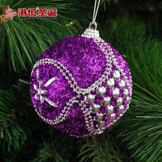 2016 Luxury Christmas Ornaments decorated Christmas tree ornaments 8 cm purple foam stick act the role of luxury Christmas balls 24 g styrofoam balls ornament party supplie discount Luxury Christmas Ornaments