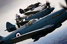 Spitfire and Hurricane aircraft from World War II come together over Lincolnshire, for the Lincolnshire Lancaster Association Day event held at RAF Coningsby. This image was a runner-up in the 2010 RAF Photographic Competition for SAC Sally Raimondo. Ww2 Aircraft, Fighter Aircraft, Military Aircraft, Bristol Beaufighter, F4u Corsair, Fighter Pilot, Fighter Jets, Spitfire Supermarine, Hawker Hurricane