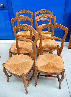 6 sedie provenzali in faggio e paglia di Vienna con conchiglia scolpita