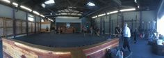 project intersect - clark design house. crossfit, long beach, reclaimed wood, neon