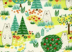 Japanese Import Kuma Chan Bears Mint Quilting Cotton I Harts Fabric