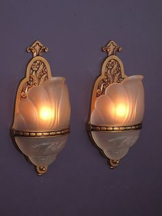 Vintage Pair Slip Shade Sconces with Bead Band Around Glass Shade. 8 available priced per pair