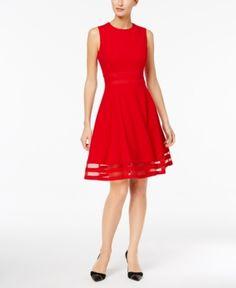 Calvin Klein Illusion-Trim Fit & Flare Dress, Regular & Petite Sizes - Orange 12