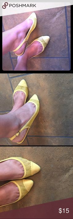 Shiedazzle yellow flats very cute Very nice flats from shoedazzle, worn once but unfortunately they run small, size 7 but fit more like a 6 6.5 JustFab Shoes Flats & Loafers