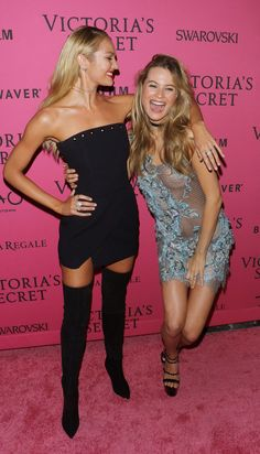 Candice Swanepoel and Behati Prinsloo, Victoria's Secret Fashion Show 2015 after party Behati Prinsloo, Victorias Secret Models, Victoria Secret Fashion Show, Victoria Secrets, Swarovski, Fashion Shows 2015, Pink Carpet, African Models, Sports Illustrated