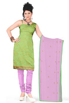 Melluha Parrot Green Chanderi Dress Material