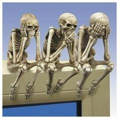 HALLOWEEN ❈ PARTY . This would be cool to do with 3 articulated skeletons for mantlepiece, window sill, etc.