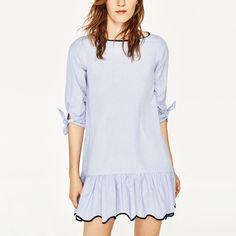 Cute Blue Striped O-Neck Pullover Half Sleeve Bow Wave Edge Ruffles Pleated Hem Sweet Women Dress Mini Vestidos Brand Q17-03-04