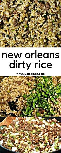 """Cajun rice or """"dirty rice"""" is a well loved New Orleans dish and a Louisiana classic. Traditional Dirty Rice uses chopped chicken livers which gives it a distinctive flavor. Louisiana Dirty Rice Recipe, Louisiana Recipes, Southern Recipes, New Orleans Dirty Rice Recipe, Cajun Dirty Rice Recipe, Haitian Food Recipes, Baby Food Recipes, Cooking Recipes, Donut Recipes"""