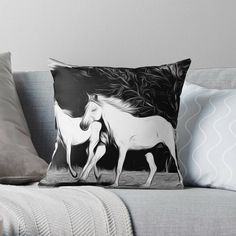 white horses graphic' Throw Pillow by LeonKramer White Horses, Designer Throw Pillows, Pillow Design, My Arts, Vibrant, Art Prints, Artist, Printed, Awesome
