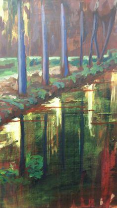 Bomen / reflectie  . Acryl op doek . 60x80
