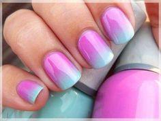 pink blue nail designs