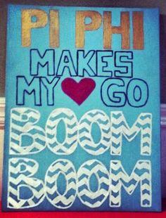 Pi Phi makes my heart go Boom Boom canvas DIY #piphi #pibetaphi