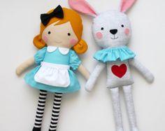 Alice in Wonderland and the White rabbit  - Play set of two handmade fabric dolls - Rag dolls - Nursery decor - Stuffed toys for kids