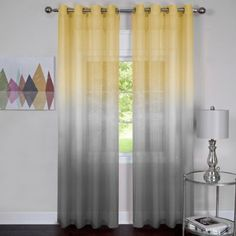Achim Rainbow 63-Inch Grommet Top Window Curtain Panel in Grey/Yellow