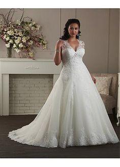 Buy discount Graceful Tulle & Satin V-neck Empire Waistline A-line Plus Size Wedding Dress at Dressilyme.com
