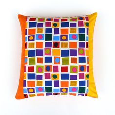 Orange AccentsBright Multicolour Marimekko Cotton  by OnHighat5