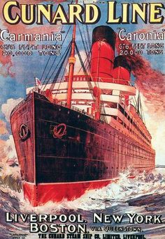 publicity poster for the cunard line
