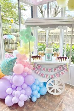 Swoon over this fabulous ice cream birthday party! The dessert table cart is so pretty! See more party ideas and share yours at CatchMyParty.com    #catchmyparty #partyideas #icecreamparty #girlbirthdayparty