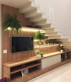 Super Living Room Storage Under Tv Small Spaces 43 Ideas Home Stairs Design, Tv Wall Design, Interior Stairs, Home Interior Design, House Design, Interior Design Under Staircase, Under Staircase Ideas, Modern Staircase, Design Design