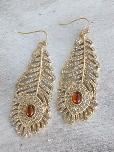 Golden Peacock Earrings