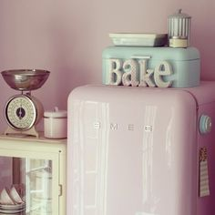 I love the 'bake' sign - I'm thinking a hot #pink respray to fit in with the pink and black kitchen #pinkkitchen ... The could turn into a bit of an arts and crafts project! #bake