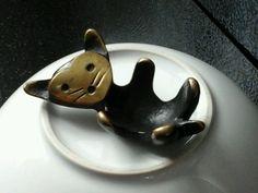"Mid-Century Modernist Walter Bosse Bronze/Brass Cat Figural Egg Cup 3"" 1950's  #WalterBosso"