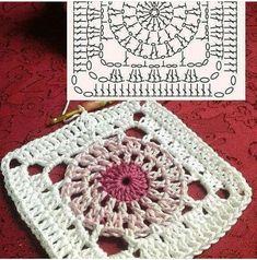 Crochet Mandala Pattern, Crochet Blocks, Granny Square Crochet Pattern, Crochet Squares, Crochet Stitches, Knitting Squares, Knitting Patterns, Crochet Patterns, Crochet Waffle Stitch