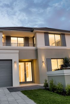 We pride ourselves on delivering new 2 storey home designs in Perth that highlight our distinctive design, modern elevations and spacious living spaces. Exterior House Colors, Exterior Design, Wooden Rack, Storey Homes, Two Story Homes, Display Homes, My Dream Home, My House, Architecture Design