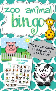 Zoo Animal BINGO: Includes 30 unique BINGO Cards, 1/2 page printable calling cards and a slideshow for use on an interactive whiteboard or with a projector. {Created by Adapting for Autism}