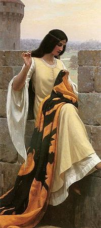 """""""Stitching the Standard"""": the lady prepares for a knight to go to war.  Edmund Leighton"""