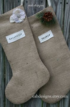 Burlap Christmas Stockings... I may just have to make these. IM thinking a bit of white fur trim a top may be necessary and a crocheted patch ot two as well.