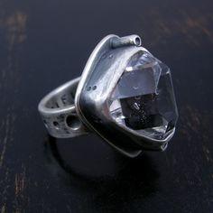 Herkimer Diamond quartz crystal ring sterling by purifiedart, $156.00