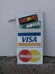 Vtg Credit Card Double Sided Metal Flange Pole Advertising Decor Sign FreUSAShip #DiscoverVISAMastercard