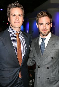 Pines Polished Pal Armie Hammer and Chris Pine suited up for the CinemaCon Final Night Awards in Las Vegas Apr. 18.