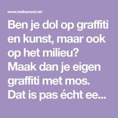 Ben je dol op graffiti en kunst, maar ook op het milieu? Maak dan je eigen graffiti met mos. Dat is pas écht een kunstwerkje!