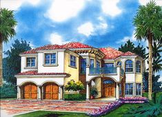This two story Mediterranean waterfront house plan features four Bedrooms, three full Bathrooms plus a half Bathroom, a Cabana and a Two car Garage. Luxury Mediterranean Homes, Mediterranean House Plans, Mediterranean Style, Luxury Homes, Coastal House Plans, Dream House Plans, House Floor Plans, Dream Houses, Cabana