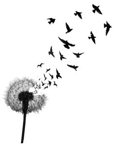 Birds Blowing From Dandelion In Black Ink Tattoo Design